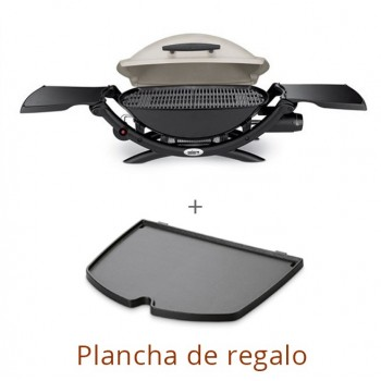 WEBER Q2000 TITANIUM BARBACUE + IRON GRIDDLE FOR FREE