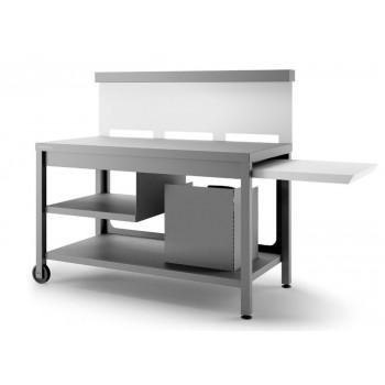 Mesa rodante con paraviento en acero gris antracita y blanco mate para plancha Forge Adour