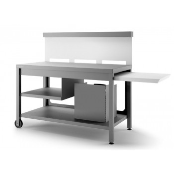 Steel mobile table with utensil rack – matt anthracite grey and white for plancha Forge Adour