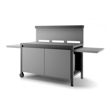 Mesa rodante con paraviento y cerrada en acero negro y gris claro mate para plancha Forge Adour