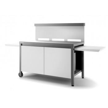 Mesa rodante con paraviento y cerrada en acero gris antracita y blanco mate para plancha Forge Adour