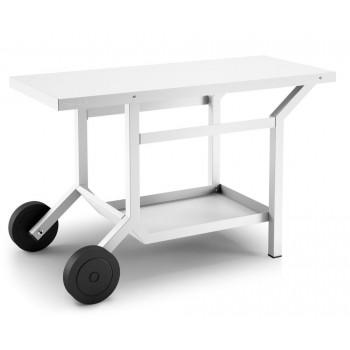 Table roulante acier blanc mat pour planchas Forge Adour