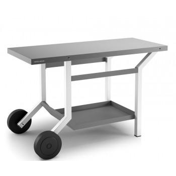 Table roulante acier gris anthracite et blanc mat pour planchas Forge Adour