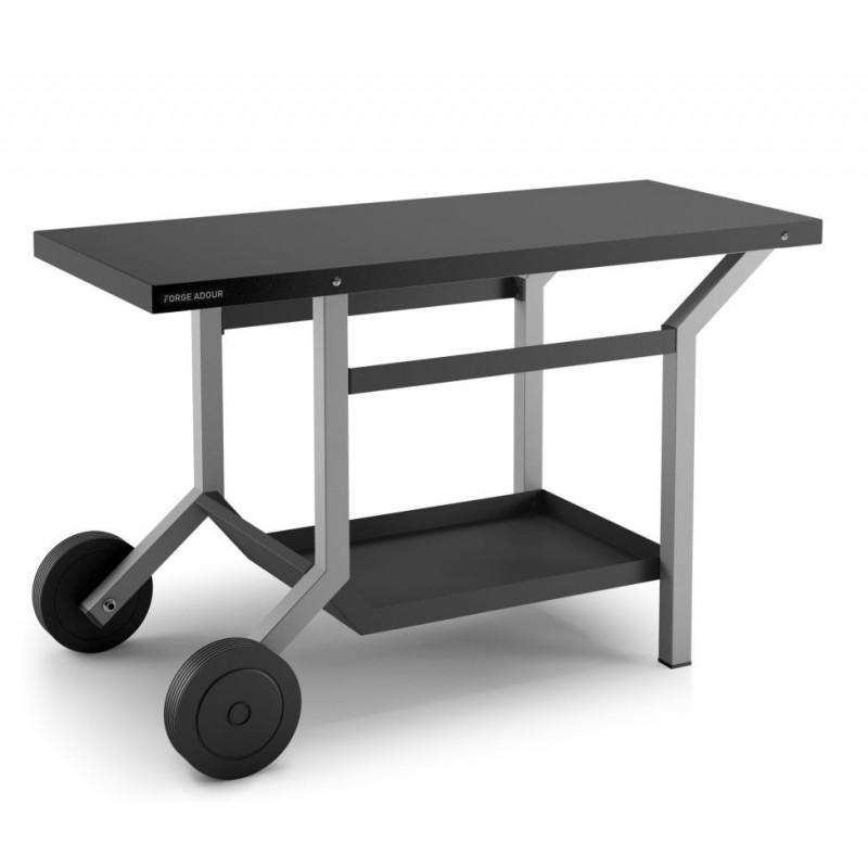 Mesa rodante de acero en negro y gris claro mate para plancha Forge Adour