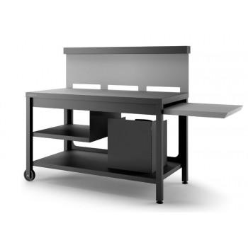 Table roulante crédence acier noir et gris clair mat pour plancha Forge Adour