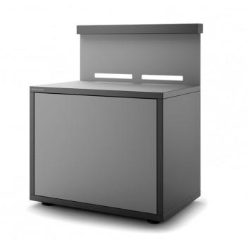 Meuble support en acier fermé noir et gris clair mat pour plancha Forge Adour