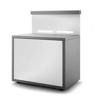 Meuble support en acier fermé gris anthracite et blanc mat pour plancha Forge Adour