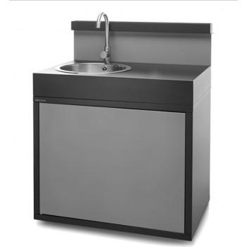 Support évier acier fermé noir et gris clair mat Forge Adour