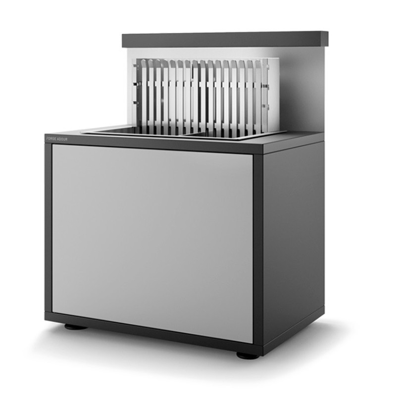 STEEL CLOSED GRILL SUPPORT SGAF 56 NG MATT BLACK AND LIGHT GREY FOR BUILT-IN STAINLESS STEEL GRILL 918.56 AND 961.56 FORGE ADOUR