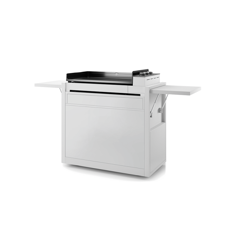 WHITE ENAMELLED STEEL CLOSED TROLLEY FOR PLANCHA PREMIUM 75 FORGE ADOUR