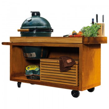 MESA CON TABLA DE TECA OFYR PRO PARA BIG GREEN EGG