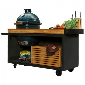 MESA CON TABLA DE TECA OFYR PRO BLACK PARA BIG GREEN EGG