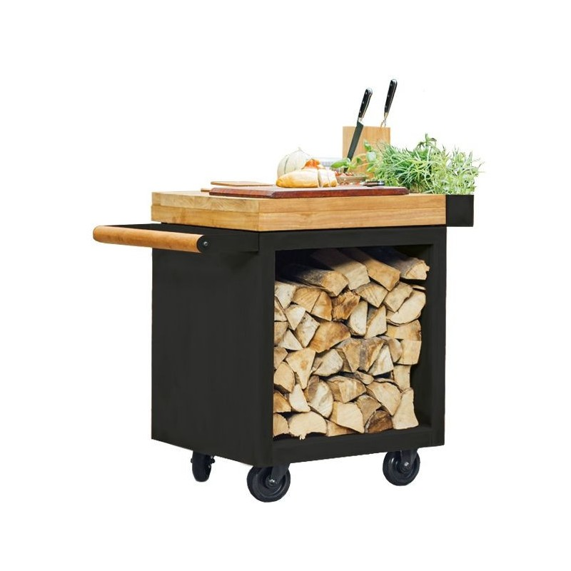 OFYR MISE EN PLACE TABLE PRO TEAK WOOD BLACK MP-B-65-PRO-TW