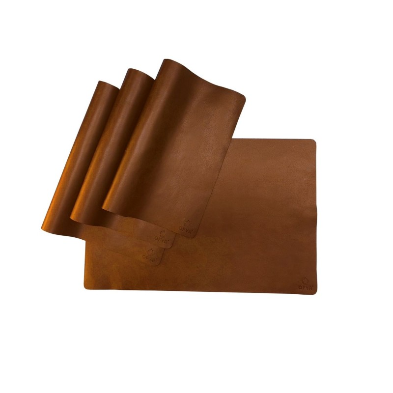 SET OF 4 BROWN LEATHER PLACEMATS OFYR
