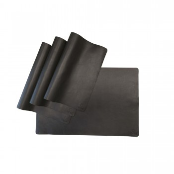 SET OF 4 BLACK LEATHER PLACEMATS OFYR
