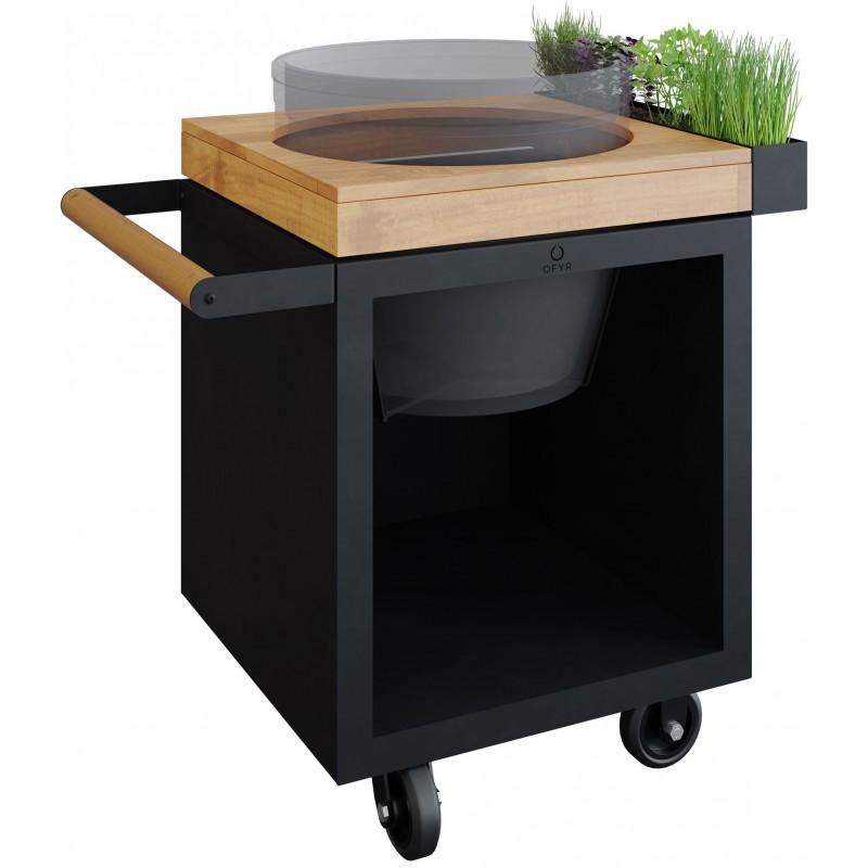 OFYR KAMADO TABLE BLACK 65 PRO TEAK WOOD