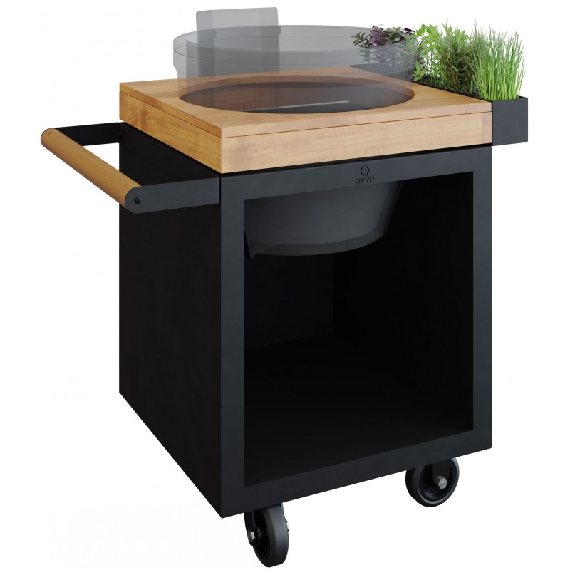 OFYR KAMADO JOE TABLE BLACK 65 PRO TEAK WOOD