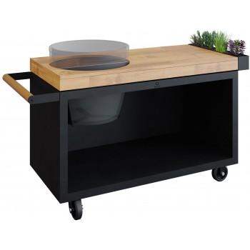 OFYR TABLE BOIS DE TECK PRO BLACK POUR BIG GREEN EGG
