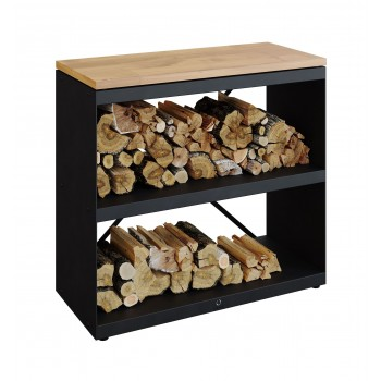 WOOD STORAGE DRESSOIR OFYR WITH 2 SHELVES BLACK WSB-D